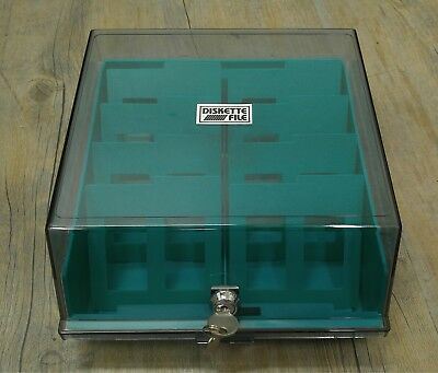 "Vintage Retro 3.5 Floppy 80 Piece Disk Storage File Box for 3.5"" 3.0"" 2.8"" Diske"