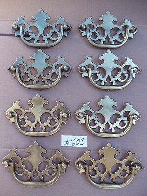 """8 New Antique Well Hilite Brass Drawer Furniture/Cabinet Pulls 3 """" c-c"""