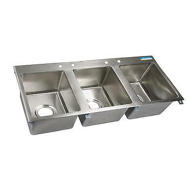 """BK Resources Three Compartment 56""""x25"""" Stainless Steel Drop-In Sink"""
