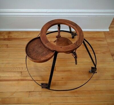 Antique Wooden Childs Walker Seat Leather Straps Doll Display Early 20th Century