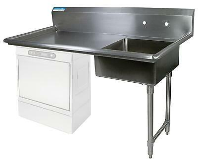 "BK Resources 60"" Undercounter Soiled Dishtable Right Side w/ S/s Legs"