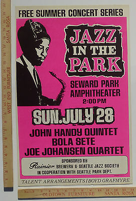 John Handy Bola Sete Jazz Concert Poster Seattle Washington 1968