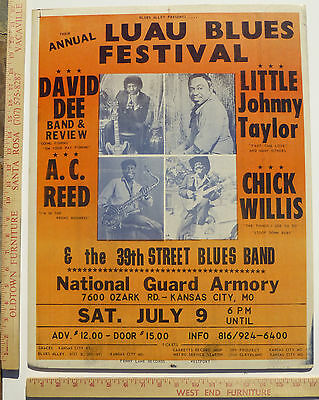 Luau Blues Festival Johnny Taylor AC Reed Concert Poster Kansas City Missouri 83