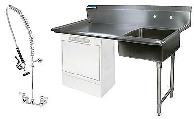 "BK Resources 60"" Undercounter Soiled Dishtable Right w/ Pre-Rinse Faucet"