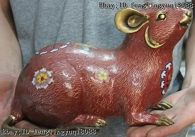 Chinese Fengshui Cloisonne Enamel Pure Bronze Lucky Blessing Mouse Mice Statue