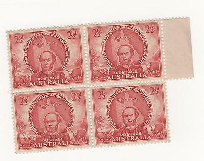 Australia 1946  THOMAS MITCHELL 2 1/2d Red  x 4 stamps  PERFS SEPARATED mint MH