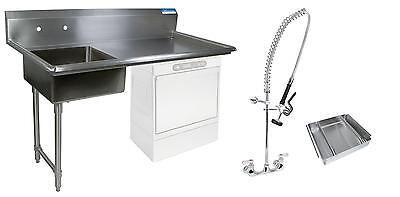 "BK Resources 60"" Undercounter Soiled Dishtable Left w/ Faucet & Basket"