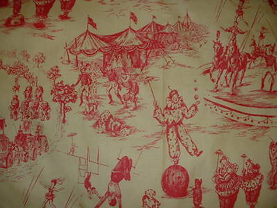 """Vintage 27"""" Piece  SCHUMACHER Circus Toile Red/Yellow Curtain Decor Fabric"""
