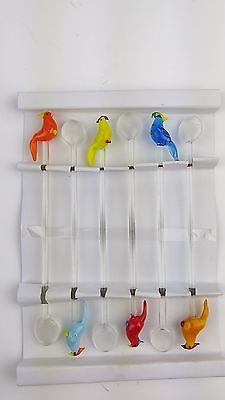 Vintage Parrot Party Glass Swizzle Sticks - Set of 6 - NEW - Global Amici