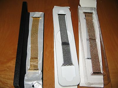 LOT of 3 NEW APPLE WATCH BANDS All 3 Stainless Steel Magnetic.  All 38mm