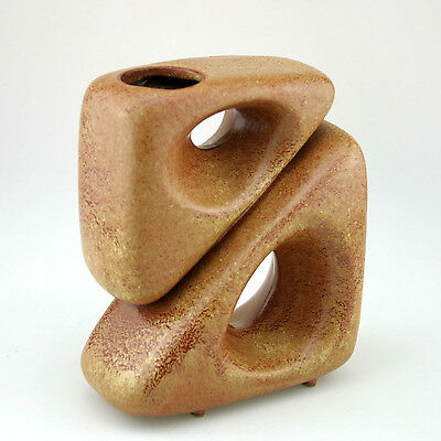 Rare Pottery Vase Sculptural 2 Triangle Brown by Bertoncello 1950s Italy Vintage