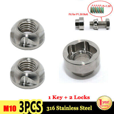 M10 Anti Theft Security Locking Nuts Key For Car LED Work Light 1 Key + 2 Locks