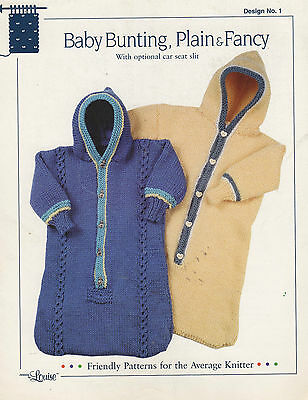 Knitting Pattern Hooded Baby Bunting Bag Car Seat Slit Design by Louise