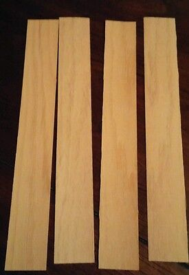"4 pieces of dyed yellow raw wood veneer each measures 11 1/2"" x 1 1/2"""