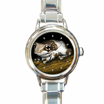 Forest on a tree Frog  round italian charm watch