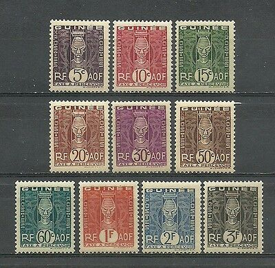 Complete series 10 Mint stamps* Taxes. French colony GUINEA 1938       (3579)