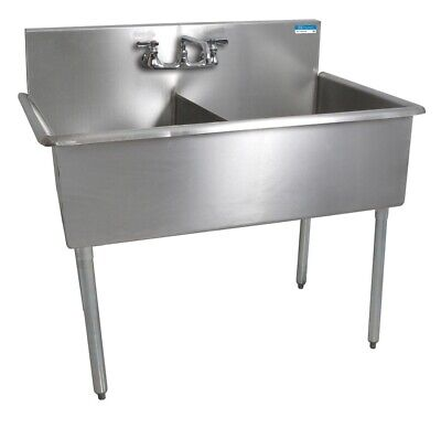 "BK Resources 51""x27-1/2"" Two Compartment Stainless Steel Budget Sink"