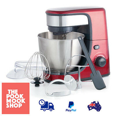 Red Bench Mixer Blending Electric 4.2L - Stainless Steel Bowl 6 Speeds Whisking