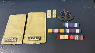 idf 1948 lot insigna 5 war ribbons 2 not indentified field ranks and hat badge