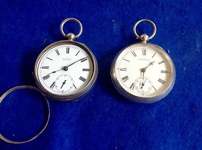Pocket Watches X 2 Waltham Years1883 Size 18 Solid Silver Suit Repair/spares