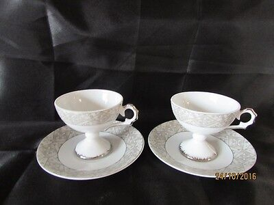 Pair of Vintage Milano Collection Athena Fine Porcelain, espresso cups & saucers
