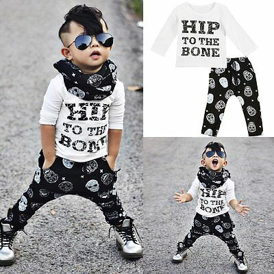 2pcs Toddler Kids Baby Boy T-shirt Tops+Pants Trousers Casual Outfit Clothes Set