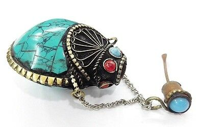 Old Tibet Silver snuff bottle Howlite Turquoise HANDWORK CARVED 3.5cm