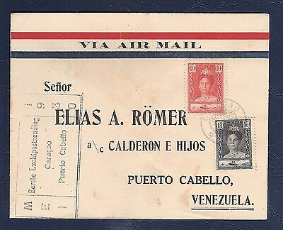 Curacao 1930 FFC First Flight Cover  air mail  to  Puerto Cabello Venezuela