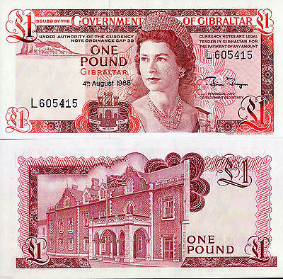 Gibraltar 1988 , One Pound - QEII , UNC - The Last