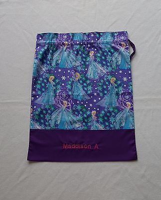 $$ Free Name Frozen Elsa (Dark Purple) Personalised Embroidery Library Bag Fd