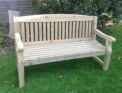 5ft Engraved Redwood Garden Bench  for anniversary, memorial, personalised gift
