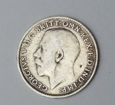 1915 - Silver - 3d Three Pence - Great Britain - King George V - English UK Coin