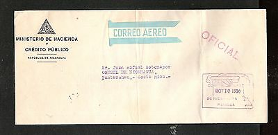 Nicaragua 1930 Official Air Mail Cover to Consul Costa Rica (folded vert.)