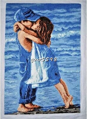 """New Finished Complete Cross Stitch Needlepoint""""First Kiss""""Wall Decor Gift"""