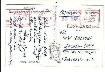 Meter Stamp Postcard Singapore 1959 to Germany