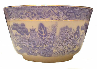 Oriental Theme Blue and White Bowl Tuscan China Made In England Gold Rimmed