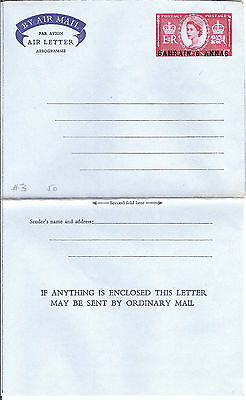 Bahrain Postal Stationery Air Letter 6 annas (2 lines text behind )