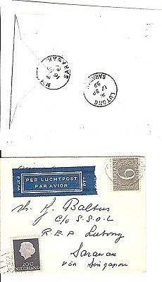 Sarawak Lutong 1959 printed matter air mail cover from Netherlands