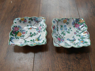Vintage Midwinter Chintz Lorna Doone Pair of matching square dishes