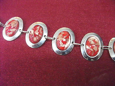 10 X Red Coloured Stones on Silver Toned Bracelet 20 cm Toggle Clasp Bulk Lot