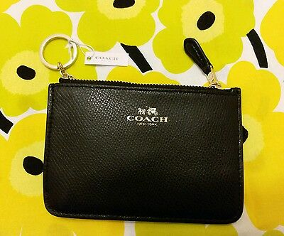 100% Authentic Coach F64064 Mini Skinny Leather Keyring Coin Purse Black