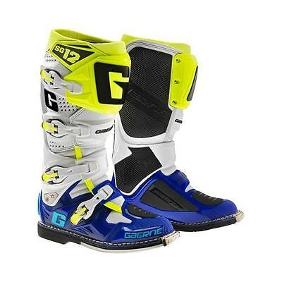 Gaerne SG-12 SG12 White Blue Neon Men's Size 10 Offroad MX Boots 2174-050-010
