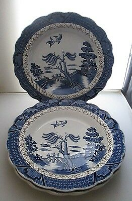 BOOTHS REAL OLD WILLOW 4 x 9.5 RIMMED SOUP BOWLS A8025