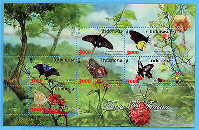 Indonesia 2016 Flora Fauna Butterfly Flowers Ms Sheetlet Stamps Mnh