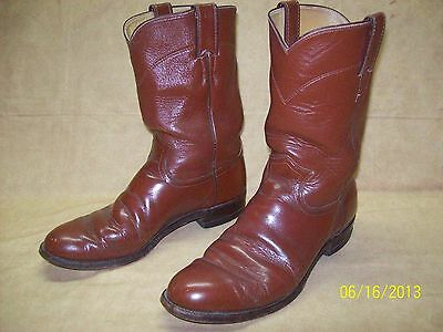 mens size 8d cowboy western justin roper brown leather boots