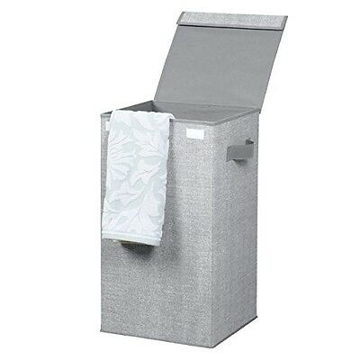 mDesign Folding Laundry Clothes Hamper with Handles and Lid - Grey. Shipping Inc