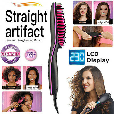 Ceramic Auto Electric Hair Straightening Hot Professional Brush Comb Irons Lcd