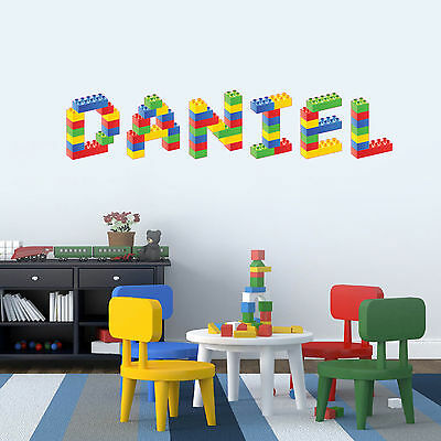Lego Any Name Personalised Children's Bedroom Playroom Wall Sticker Decal Vinyl