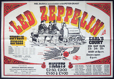 Led Zeppelin Repro 1975 London Earls Court 23-25 May Concert Poster . 84 X 58 Cm
