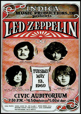 Led Zeppelin Repro 1969 Honolulu Civic Auditorium Hawaii Concert Poster 13 May